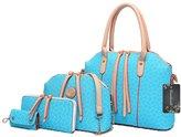 Donaword Women 4 Pcs Pueather Printing Messenger Bag Purse Shouder Handbag Tote Set SkyBue