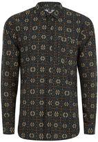Topman Geometric Print And Pinstripe Shirt