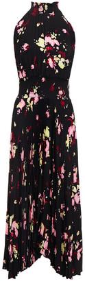 A.L.C. Shirred Floral-print Plisse-woven Midi Dress