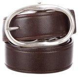 Saint Laurent Silver-Tone Buckle Leather Belt