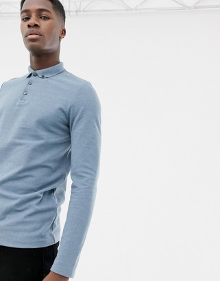 Asos Design DESIGN long sleeve polo in pique with button down collar in blue
