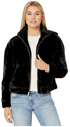 UGG Mandy Faux Fur Hoodie (Black) Women's Clothing
