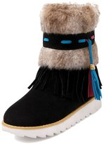 ENMAYER Women's Closed Round Toe Suede Soft Material Gorgrous Solid Boots With Tie Lace 7.5 B(M) US