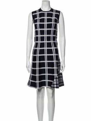 Victoria Beckham Plaid Print Knee-Length Dress Blue