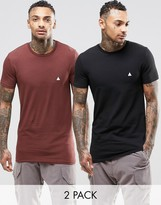 Asos 2 Pack Longline Muscle T-Shirt With Logo In Brown/Black
