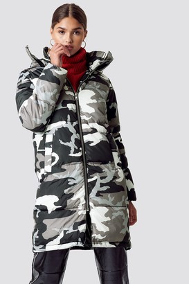 NA-KD Long Camo Padded Jacket