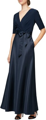 Alex Evenings Mixed Media Gown