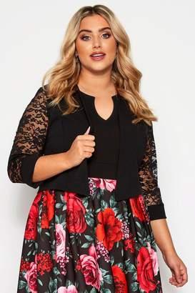 Womens Yours Curve Lace Sleeve Bolero Jacket - Black