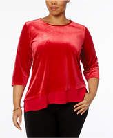 NY Collection Plus Size Asymmetrical Velvet Top