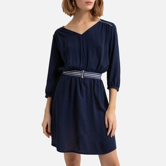 Kaporal Jacquard Belted Dress with 3/4 Length Sleeves