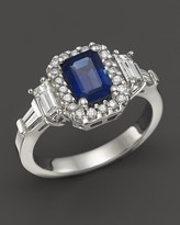 Bloomingdale's Sapphire and Diamond Halo Ring with Baguettes in 14K White Gold