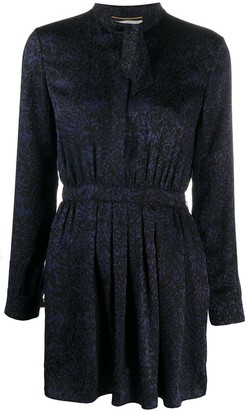 Saint Laurent Lavalliere-Neck Silk Dress