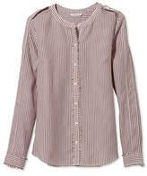L.L. Bean Signature Collarless Long-Sleeve Shirt, Stripe