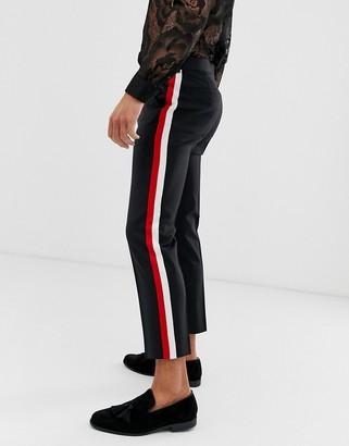 Asos Design DESIGN skinny crop smart trousers in 100% wool with side stripe-Black