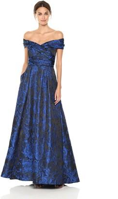 Carmen Marc Valvo Women's Portrait Collar Brocade Ball Gown W/Pockets