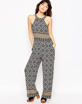 Brave Soul Tile Print High Neck Jumpsuit