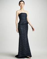 Carmen Marc Valvo Metallic Strapless Peplum Gown