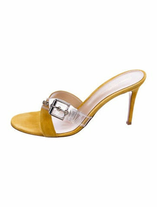 Gianvito Rossi Suede and PVC Round-Toe Sandals Yellow