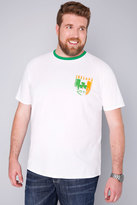 Yours Clothing BadRhino White Short Sleeve T-Shirt With Republic Of Ireland Emblem