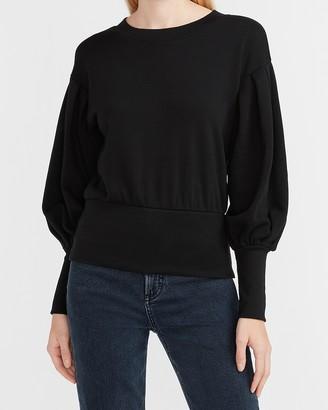 Express Balloon Sleeve Banded Bottom Fleece Sweatshirt