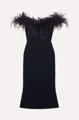Marchesa Off-the-shoulder Feather-trimmed Sequined Cady Midi Dress - Midnight blue