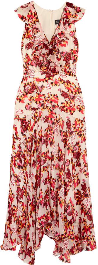 Saloni Rita Ruffled Printed Devore Satin And Chiffon Midi Dress