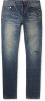 Saint Laurent Skinny-fit 15cm Hem Distressed Stretch-denim Jeans - Indigo