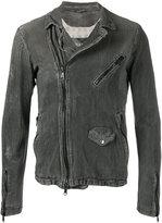 Giorgio Brato classic biker jacket - men - Cotton/Linen/Flax/Leather/Nylon - 46