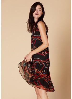 Derhy Sleeveless Patterned Shift Dress with V-Neck