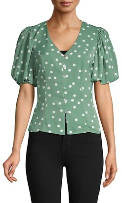 Cliche Puffed-Sleeve Polka Dot Top