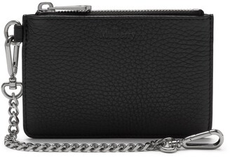 Mulberry Coin Zipped Wallet Black Heavy Grain