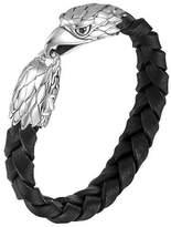 John Hardy Silver Eagle Head Leather Bracelet