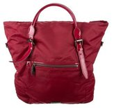 Burberry Patent Leather Trimmed Satchel