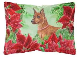 Mini A Ture The Holiday Aisle Marengo Miniature Pinscher Poinsettias Indoor/Outdoor Throw Pillow The Holiday Aisle