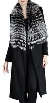 Sofia Cashmere Feathered Fur-Collar Wool-Blend Coat