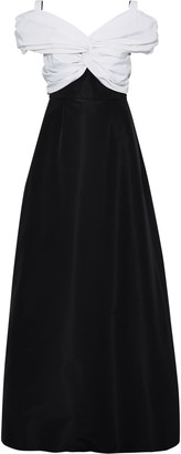 Carolina Herrera Off-the-shoulder Twist-front Two-tone Silk-faille Gown