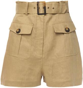 Zimmermann Suraya Safari Belted Linen Shorts