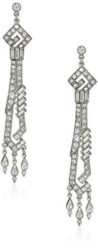 Ben-Amun Jewelry Deco Crystal Dangling Drop Post Earrings for Bridal Wedding Anniversary