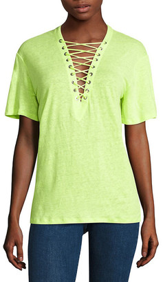 IRO Lace-Up Linen Top