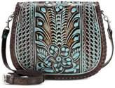 Patricia Nash Turquoise Tooled Savini Small Saddle Bag