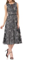 Carmen Marc Valvo Floral Embroidered Dress
