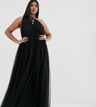 ASOS DESIGN Curve one shoulder tulle maxi dress in black