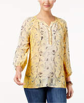 Style&Co. Style & Co Printed Peasant Blouse, Created for Macy's
