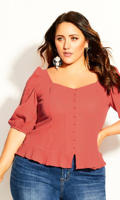 City Chic Bubble Sleeve Top - coral