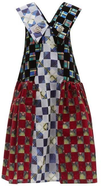 Thumbnail for your product : Chopova Lowena Exaggerated-collar Flocked-taffeta Midi Dress - Red Multi