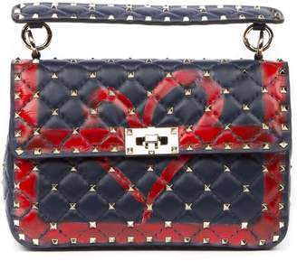 Valentino Garavani Blue And Red Spike Leather Bag With Heart
