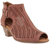 Earth Nubuck Perforated Peep-Toe Booties -Keri