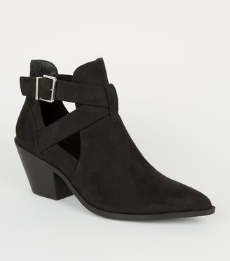 New Look Suedette Cut Out Western Shoe Boots