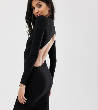 Asos DESIGN tall long sleeve extreme open back mini bodycon dress