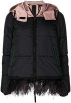 No.21 feather trim padded jacket